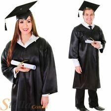 Unisex Black Graduation Robe Fancy Dress Costume Mortar Board Hat Mens Ladies