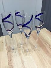 Champagne Flutes With Colbalt Blue Swirl Set Of 4 10""