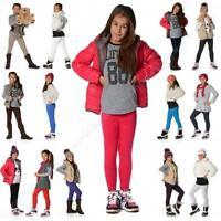 Plain Children Age 2-13 Cotton Full Length Leggings Girls Kids Black +20 Colours