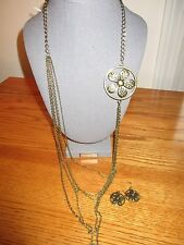 NWT Brushed BronzeTone Necklace Multi chain  Daisy Detail w/ matching earrings