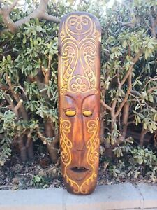 "Primitive Tribal Maori Tiki Wood Mask Patio Tropical Bar Wall Tattoo Art 39"""