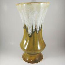 """10"""" Tall vtg HANDMADE Pottery Drip Glaze Vase Green Brown White"""