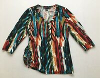 Peck & Peck Strech Knit V-Neck Top Ruched Side 3/4 Sleeve Women's Size S