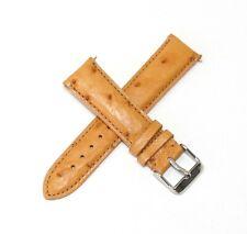 20MM Genuine Ostrich Leather Skin Watch Band CARAMEL BROWN w/ Steel Buckle NEW!