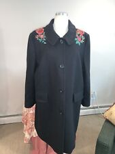 ANN TAYLOR LOFT BLACK FLORAL EMBROIDERED WOOL COAT XLARGE
