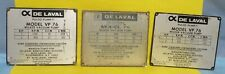 3 Vintage De Laval MILKER VACUUM PUMP  Collector Data Plate Tag