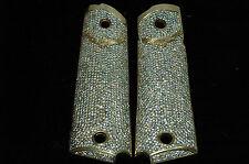Incredible Custom 45 carat Diamond Gold Grips for 1911  45 below SCRAP VALUE