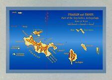Island of Praslin, Seychelles Postcard of Older Map (Reference 199)
