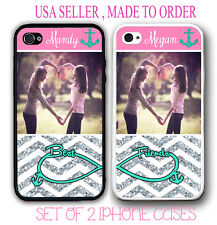 PERSONALIZED PHOTO MIX PINK CHEVRON Best Friends Cases FOR iPhone X 8 7 6S SE 5S