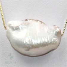 14-17mm Natural White Baroque Pearl Necklace 18 inch Cultured Wedding Diy Hang
