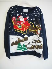 Christmas Jumper L 14 16 Blue Jingle Bells Flashing Lights