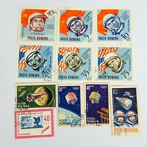 Lot of 11 Posta Romania Stamps Space Stamps
