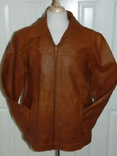 NWT MEN'S  AIRBORNE LEATHERS  COGNIAC COLOR  LEATHER QUILTED LINED JACKET M