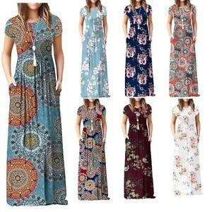 Women's Short Sleeve Boho Floral Plain Maxi Casual Long Pockets Plus Size Dress