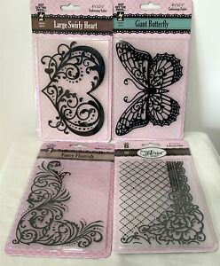 HOTP Hot Off the Press Embossing Folders Butterfly Rose Heart Lot of 4