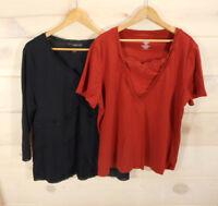 Lot of 2 Venezia Women's Sz 18 / 20 Knit Tops Lace Detail Black Burnt Orange