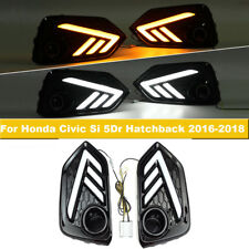 White+Yellow LED DRL Light Turn Signals For Honda Civic Si 5Dr Hatchback 2016-18