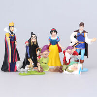8 pcs Princess Snow White & The Seven Dwarfs Evil Queen Cake Topper Figures Toy