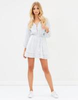 ATMOS&HERE The ICONIC EXCLUSIVE Sasha Cotton Mini Dress Blue White Stripe Sz 8