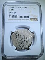 NGC AU-53 1762 Spanish Bolivia Silver 8 Reales Antique Colonial Dollar Cob Coin