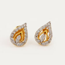 0.26 Ct Diamond Pave Heart Design Clip On Earrings 14K Yellow Gold Fine Jewelry