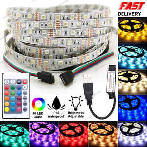 Led Strip Lights 5050 RGB Colour Changing Tape Cabinet USB TV Kitchen Lighting