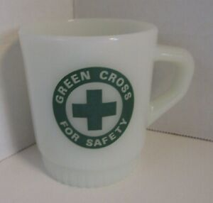 Green Cross For Safety Mug  Milk Glass Anchor Hocking Advertising Coffee Cup