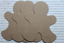 3 Bare Chipboard Wide Gingerbread Man style no.4  diecuts w/zig zag trim 5 1/8""