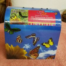 Valentine's Day 32 Cards with 32 Seals in Keepsake Light Up Mailbox Butterflys