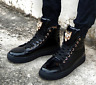Mens Round Toe High Top Ankle Boots Patent Leather Lace Up Sneakers Shoes G550