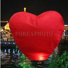 10Pcs Red Heart Chinese Sky Flying Paper Wishing Lanterns Kong Ming Lantern