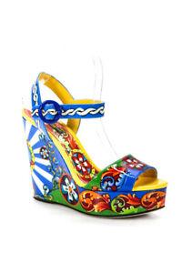 Dolce & Gabbana Womens Printed Platform Wedges Multicolor Size 39