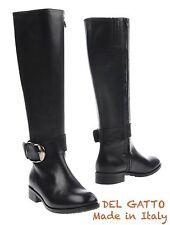 NIB $560 DEL GATTO MADE IN ITALY KNEE-HIGH BLACK CALFSKIN BOOTS. SZ 39 / 9 M