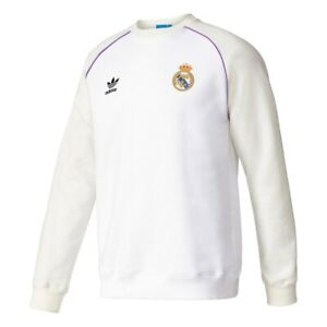 Adidas Real Madrid Crew Men's Sweatshirt - White Official Product