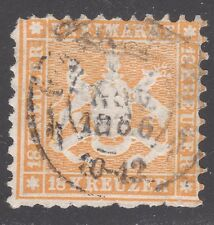 WURTTEMBERG STAMP #40--  18kr COAT OF ARMS -- 1863 -- USED
