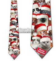 Meowy Christmas Cat Santa Hats Tie Men's Holiday Neck Ties Brand New