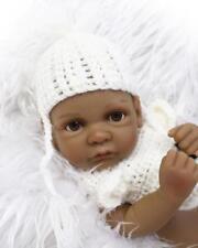 Black Cute Baby Dolls Reborn Lifelike Newborn Vinyl Silicone Toy