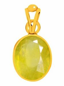100% Natural Certified Yellow Sapphire Gold Plating Pendant for Men & Women