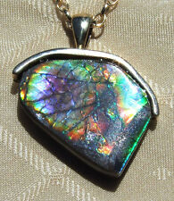 AMAZING 17ct. - AMMOLITE PENDANT-SOLID 14k GOLD, HANDMADE, Feng Shui Prized,