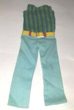 VINTAGE BARBIE HTF SKIPPER DOLL 1970 BLUE GREEN SUMMER SLACKS BELT PAK JUMPSUIT