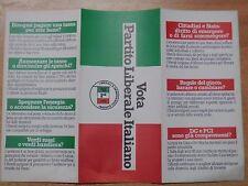 vecchio depliant pieghevole VOTA PARTITO LIBERALE ITALIANO PLI campagna elettore