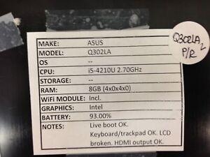 Asus Q302LA *Parts/Repair* i5/8GB/BATT - No OS/HDD/CHRG