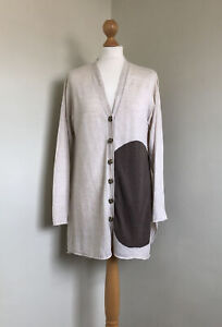 MASAI Fabulous Ivory Linen and Cotton Knitted Cardigan With Dark Taupe Spot S
