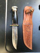 KA-BAR Union Cutlery Co Olean NY Leather Handle Fixed Blade Hunting Knife V.NICE