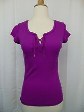 LAUREN Ralph Lauren Petite Lace-Up Ribbed Tee PS Small Bright Magenta #3287