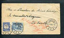 1908 ongefr. envelop lokaal ZWOLLE; mfr PORT De RUYTER; rood STRAFPORT