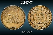 About Uncirculated 1858 LG Letters Flying Eagle Cent, Sharp, lustrous specimen.
