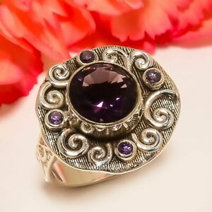 African Amethyst Vintage Style 925 Sterling Silver Jewelry Ring s.6 F1854