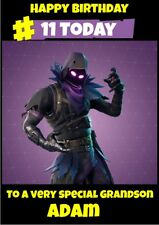 personalised birthday card Fortnite Raven any name/age/relation.