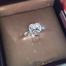 3CT Heart-Cut D/VVS1 Diamond Solitaire Engagement Ring 10k White Gold Finish